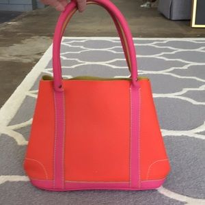 J Crew collection multi colored leather handbag.